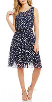 Adrianna Papell Chiffon Printed Dot Fit & Flare Dress