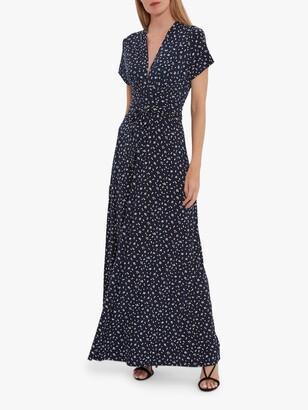 Gina Bacconi Doria Spot Print Maxi Dress, Navy/White