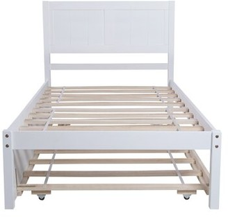 Red Barrel Studio Aune Twin Solid Wood Bed Color: White