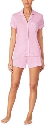 Lauren Ralph Lauren Short Sleeve Notch Collar Boxer PJ Set (Rose Stripe) Women's Pajama Sets
