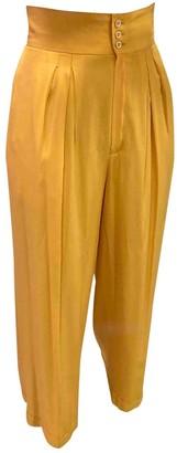 Celine Yellow Silk Trousers