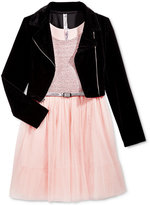 Beautees Blush Dress & Velvet Jacket, Girls (7-16)