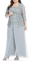 Emma Street Plus Lace Chiffon 3-Piece Pant Set