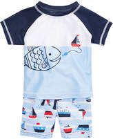 First Impressions 2-Pc. Fish Rash Guard & Sailboat Swim Trunks Set, Baby Boys, Created for Macy's