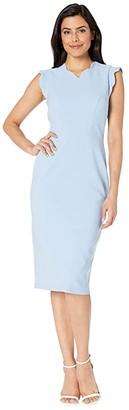 Maggy London Mystic Crepe Scallop Sheath Dress (Sky Blue) Women's Dress
