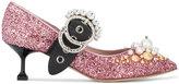 Miu Miu Pink Glitter Crystal Mary Jane 55 Heels