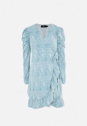 Missguided Blue Dalmatian Print Frill Wrap Maternity Mini Dress