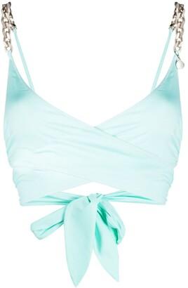 Stella McCartney Chain-Strap Wrap Bikini Top