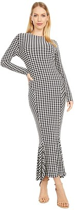 KAMALIKULTURE by Norma Kamali Long Sleeve Crew Fishtail Dress to Midcalf (Large Check) Women's Dress