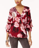 INC International Concepts Printed Tiered-Sleeve Top, Created for Macy's