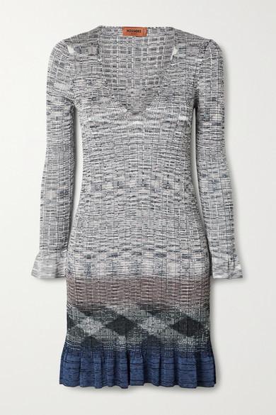 Missoni Ribbed Crochet-knit Mini Dress - Gray