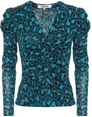 Diane von Furstenberg Gladys leopard-print mesh top