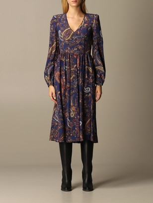 Etro Dress Dress In V-shaped Paisley Silk