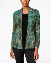 JM Collection Petite Layered-Look Marbled Jacquard Top, Only at Macy's