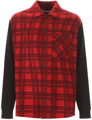 Off-White Contrasting Panelled Check Shirt