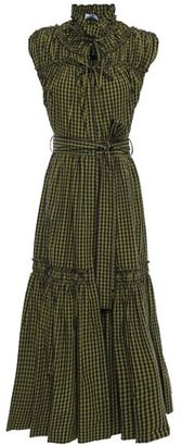 Proenza Schouler Lace-up Gathered Gingham Cotton-poplin Midi Dress
