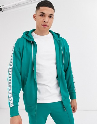 Benetton tracksuit jacket with logo taping in green