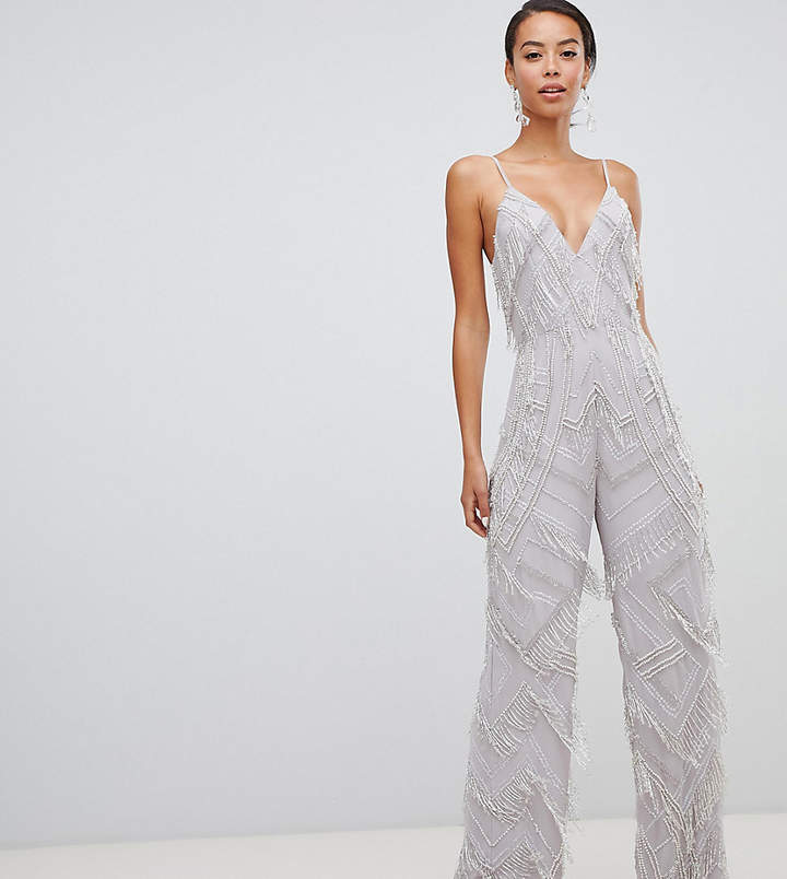 Asos Tall EDITION Tall fringe & pearl embellished jumpsuit with wide leg