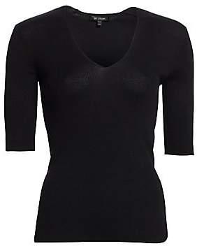 St. John Women's Fine Rib-Knit Short-Sleeve Top