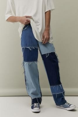 Jaded London Frayed Patchwork Denim Skate Jeans - Blue 30W 30L at Urban Outfitters