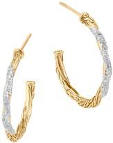 John Hardy Classic Chain 18K Gold Diamond Pavé Small Hoop Earrings