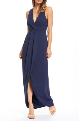 Dress the Population Ariel Racerback Faux Wrap Crepe Gown