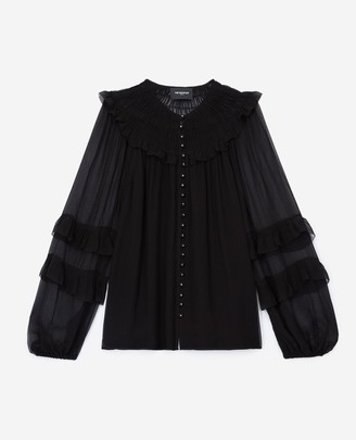 The Kooples Flowing black shirt with smocked neck