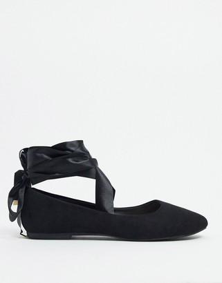 BEBO ribbon tie ballet flats in black