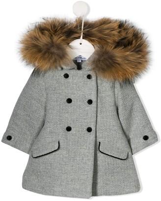 Tartine et Chocolat Faux Fur Hooded Textured Coat