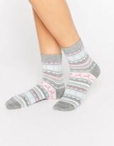 Asos Holidays Glittery Fairisle Ankle Socks In Bauble