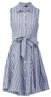 Dorothy Perkins Womens *Izabel London Blue And White Striped Tie Waist Print Skater Dress, Blue