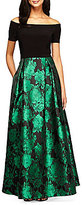 Alex Evenings Off-The-Shoulder Printed Ballgown