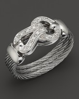 Charriol Classique Collection 18K White Gold, Diamond and Grey Stainless Steel Nautical Cable Ring