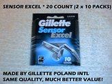 Gillette Sensor Excel Refill Cartridges 20 Count (2x10 Count)