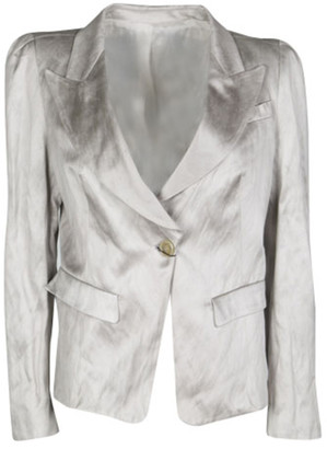 Gianfranco Ferre Grey Satin Tailored Blazer L