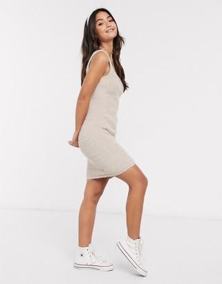 ASOS DESIGN mini fluffy dress in beige
