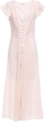 Marysia Swim Lace-up Gingham Cotton Midi Dress