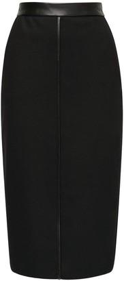 Max Mara Wool Pencil Skirt W/ Faux Leather Detail