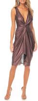 Katie May Sass Metallic Sleeveless Deep V-Neck Knotted Dress