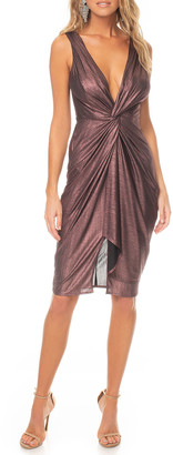 Katie May Sass Metallic Sleeveless Deep V-Neck Knotted Dress