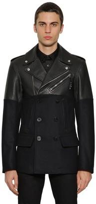 Alexander McQueen Leather & Wool Pea Coat Biker Jacket