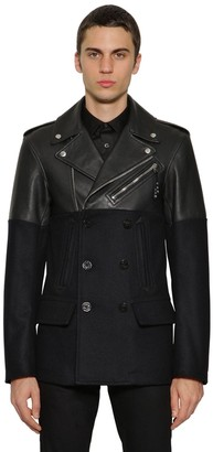 Alexander McQueen Leather & Wool Pea Coat Biker Jacket