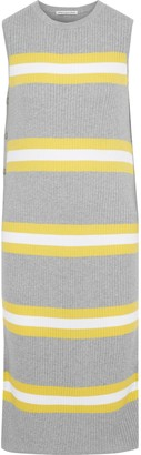 Autumn Cashmere Cotton By Button-detailed Striped Ribbed Cotton Dress