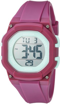Armitron Sport Women's 45/7080PUR Light Green Accented Digital Chronograph Purple Resin Strap Watch
