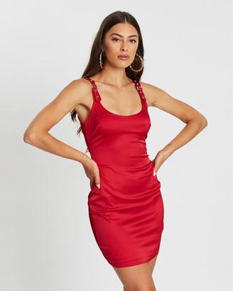 Missguided Buckle Strap Satin Bodycon Mini Dress