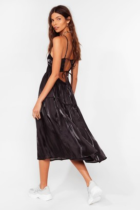 Nasty Gal Womens What Do You Sheen Tiered Midi Dress - Black