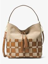 MICHAEL Michael Kors Vivian Large Woven Suede and Leather Hobo