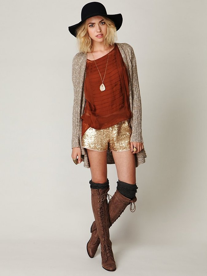 Free People Sequined Track Shorts