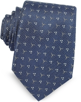 Lanvin Navy Blue Patterned Woven Silk Tie