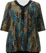 A Personal Touch Teal Foliage 3/4 Sleeve Women's Plus Size Blouse